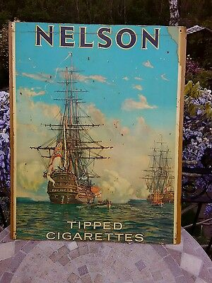 VINTAGE NELSON TIPPED CIGARETTES GENUINE 1940s ADVERTISING BOARD