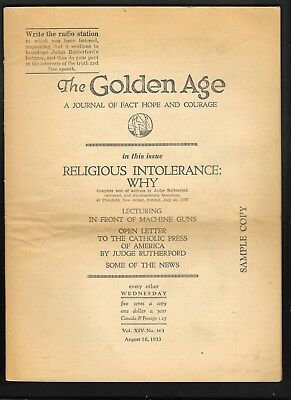 Watchtower: The Golden Age - Aug 16 - 1933 No. 363 'Sample'