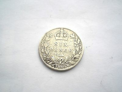 Early Hard To Find-Victorian Silver 6 Pence Coin From The Uk Dated-1890 Nice