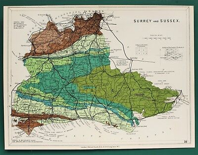 Surrey & Sussex - Antique Stanford Geological Map 1904 Colour Folding