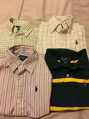 Lot of 4 Ralph Lauren toddler boys button down shirts & polo top 2/2T - EUC