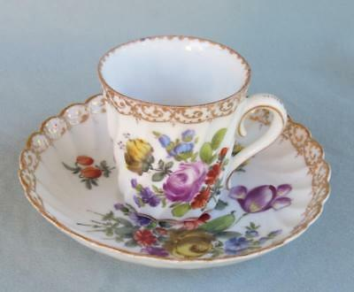 Hand Painted Dresden Demitasse Cup & Saucer
