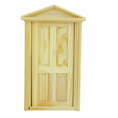 1/12 Dollhouse Miniature Exterior Inward-Open Wood Door with Steepletop WS J7A8