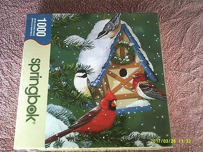 "24"" x 30"" 1000 Piece Puzzle of Red Cardinal Birds & Others at Holiday Birdhouse"