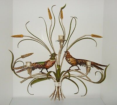 Vintage Italian Tole Wall Sconce 3 Candle Arms with Pair of Pheasants