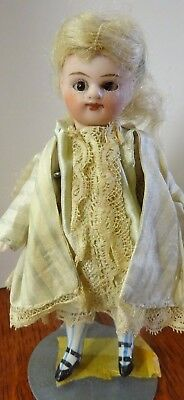 """Antique French Type All Bisque Dressed Doll 4 1/2"""" Marked #1 Swivel Neck, Strung"""