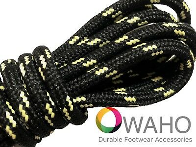 Heavy Duty Black Shoe / Boot Laces Reinforced with Natural Dupont™ Kevlar®