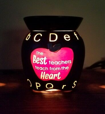 Scentsy ABC Black Mid Size The Best Teachers Teach From The Heart Warmer GiftEUC