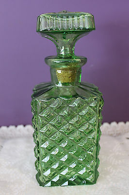 Square Green Cut Glass Decanter With Glass Stopper