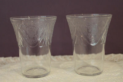 2 Hazel Atlas Clear Depression Glass Tumblers - Royal Lace