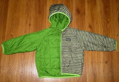 Toddler Boy's PATAGONIA Puff Ball Green Reversible Hooded Jacket Coat size 12M