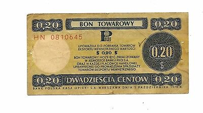 Poland  Foreign Exchange 20 Cents 1979