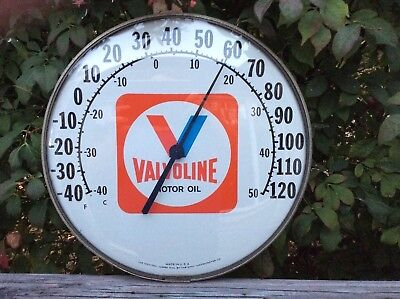 "Vintage 12"" Valvoline Motor Oil Thermometer in good condition"