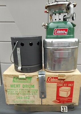 Coleman Lantern & Stove Co 502 Combo Cook Kit Heat Drum And Stove Made Nov. 1974
