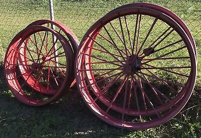 "Vintage F & H IRON Wheels Farm Implement Wheel 44"" and 36"" Matched Set of 4"