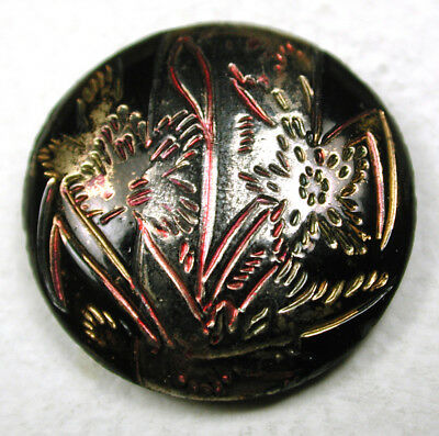 Antique Black Glass Button Incised Flower Design w/ Silver & Gold Luster 7/8""