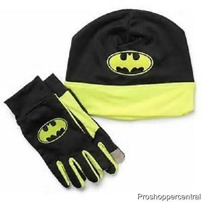 Youth Kids Batman Athletic Cold Weather Set, Beanie and Phone Compatible Gloves