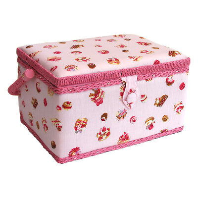 Sewing Online FM-009 | Cake Printed Sewing Basket | Pink | 26 x 18.5 x 15cm
