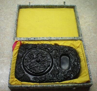 """Vintage 9x6"""" Chinese Ink Stone Carved Dragon Signed Calligraphy Well Slab w/ Box"""