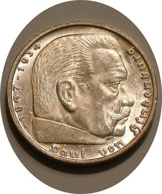 1935 G Silver 5 reichsmark of Germany very Choice BU HINDENBURG Issue