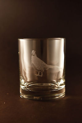 Etched Pheasant on Lowball Old-Fashion Glasses