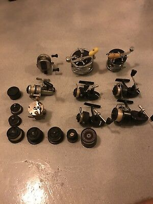 Lot of 9 Vintage Fishing Reels Penn, Zebco, Mitchell, Shakespeare.  No Reserve!