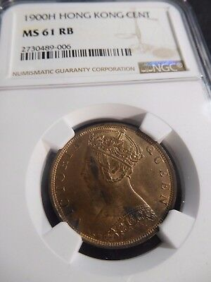 INV #S62 Hong Kong 1900-H Cent NGC MS-61 Red Brown