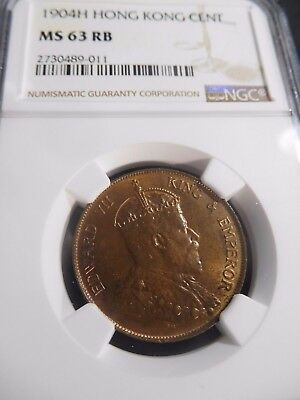INV #S65 Hong Kong 1904-H Cent NGC MS-63 Red Brown
