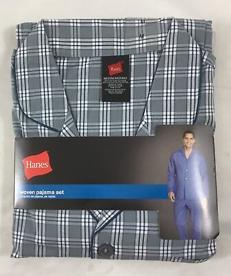 33f7e0ec8a79 Hanes Men s Woven Pajama Set Long Sleeve Sleepwear 20792 Gray Plaid Size M