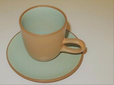 Edith Heath Pottery Turquoise Tall Cup and Saucer A