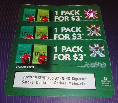 (3) 1 Pack for $3 Natural American Spirit ANY STYLE Cigarettes Coupons 12/31/17