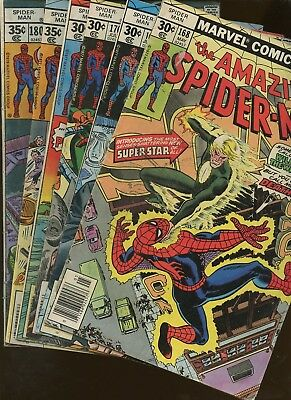 Amazing Spider-Man 168,169,170,171,177,180  ~ 6 Books* Death of Will O the Wisp!