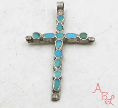 Sterling Silver 925 Religious Cross Inlaid Turquoise Pendant (1.1g) - 575191