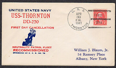 1941 USS Thornton (DD-270) FDPS After Recommissioning A585