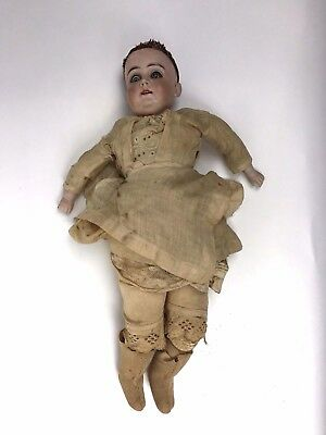 Antique Bisque German Leather Skin Body Doll w/ Open Mouth Teeth Mein Liebling ?