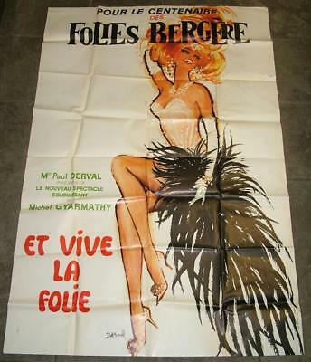 Original HUGE 5'x3' Folies Bergeres French Theater Cabaret Poster Jacques Darnel