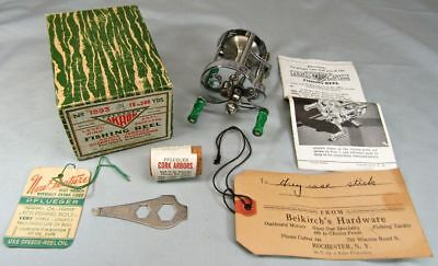 Pflueger Akron 1893 Casting Reel Six Patents c. 1938 NM with Box and Goodies!