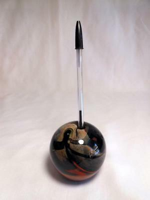 Extremely Rare Lundberg Studios 1971 Art Glass Large Paperweight Pen Holder