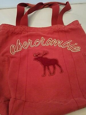 Abercrombie Girl Red Moose Logo Tote Bag Canvas Style Handbag Purse no reserve