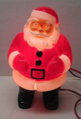 """Vintage General Products Hard Plastic Lighted Santa Claus 9"""" Electric - Nice"""