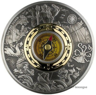 2017-P $2 Tuvalu Compass Antique Finish 2 oz. Silver Coin