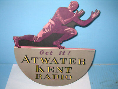 Atwater Kent Radio EARLY Die Cut Advertising Sign w Football Player