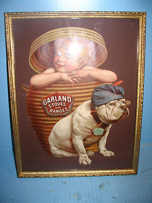 Garland Stoves & Ranges EARLY Die Cut Sign Boy in Basket W Bulldog RARE Framed
