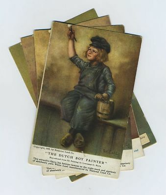 (4) Early Dutch Boy Painter National Lead Co Advertising Postcards Signed bv2007