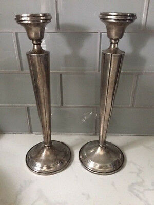 Antique Hamilton Sterling Silver Candlesticks Candle Holders - Art Deco