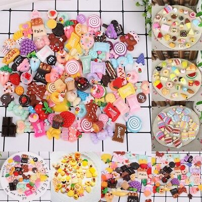 Mixed Food Cake Candy Polymer Clay Cabochon Flatback Embellishment Cellphone DIY