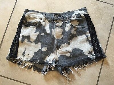 Furst Of A Kind VINTAGE Gray Distress High Waisted Leather Laced Levi Shorts 27