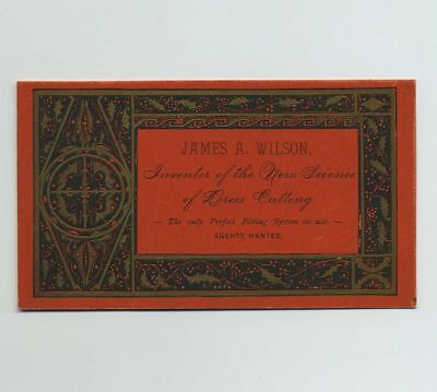1800's Advertising Trade Card James Wilson Inventor Science Dress Cutting bv2063