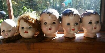 Vintage- 5 Composition Doll Heads Lot w  Sleep Eyes ASSORTED Sizes!