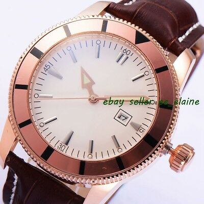 46mm Rosegold PVD Case  Mens Automatic Watches White Sterile Dial Brown Strap 02